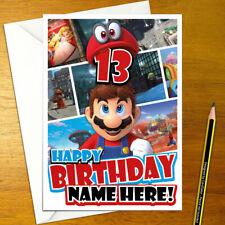 Personalised 5x7 inches plus envelope. Mario Kart birthday card Super Mario