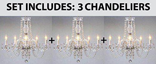 """tm Chandelier Chandeliers Lighting H25/"""" x W24/"""" SET OF 3 Empress Crystal"""
