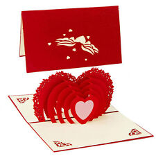 Multi Liebe Herz 3D POP UP Glückwunschkarte Grußkarten Hochzeit Tag Geburtstag