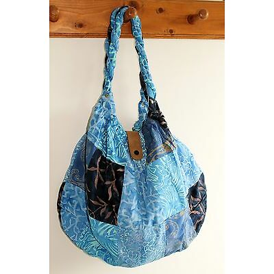NEW LADIES WOMENS HAND SHOULDER TOTE BEACH PATCHWORK FABRIC BAG IN BLUE / BAGBL