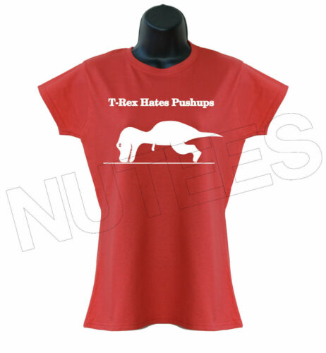 T-Rex Hates Push Ups Dinasour  Funny Gym Men/'s Ladies Kids T-Shirt Vest S-XXL