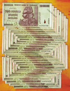 Zimbabwe-200-Million-Dollars-x-30-PCS-AA-2008-Banknotes-Currency-Paper-Money-Lot