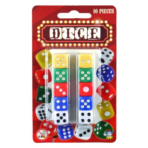 Brightly Coloured Small Plastic 1cm Dice 10 Pieces 1, 4 or 12