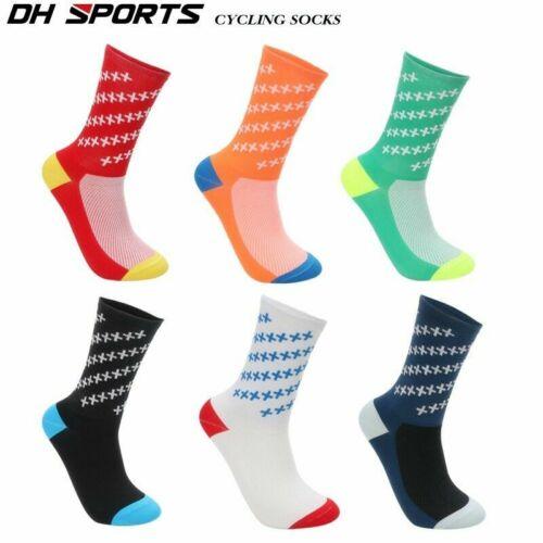 Pro Mens Cycling Socks Riding Bicycle Sport Socks Anti-Sweat Breathable 1 pair