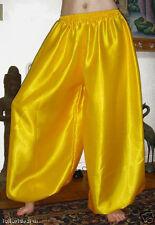 Harem Pants Belly Dance Satin Yellow