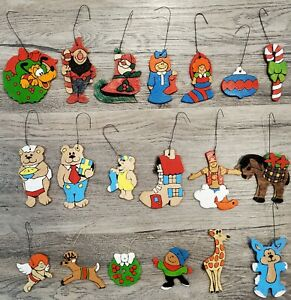 Vintage-Christmas-Ornaments-Hand-Painted-Wood-Pluto-Santa-Elf-Candy-Cane-Lot