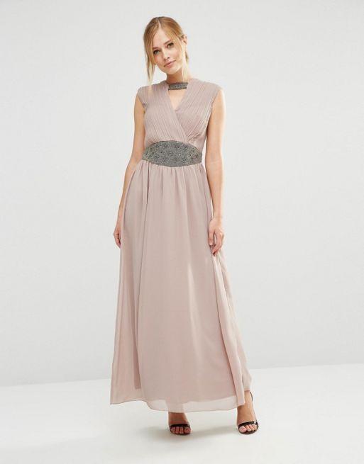 Little Mistress Maxi Dress With Embellished Waist Mink Women UK Size - 8