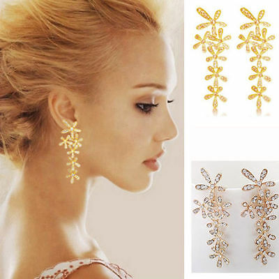 Hot Dangle Crystal Gold/Silver Filled Flowers Earrings Ear Studs 1 Pair Jewelry