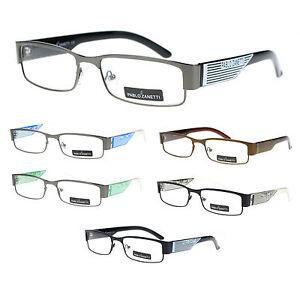 Narrow Frame Reading Glasses : Pablo Zanetti Unisex Half Metal Rim Narrow Rectangular ...