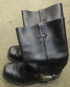 eac55dd268e Details about HARLEY DAVIDSON 91345 HARNESS SQUARE TOE BLK LEATHER  MOTORCYCLE BOOTS 9.5M