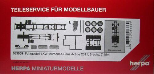 Herpa 083669 Mercedes Benz Actros 2011 LKW Fahrgestell 3achs 7,45m 2 Stück 1 87