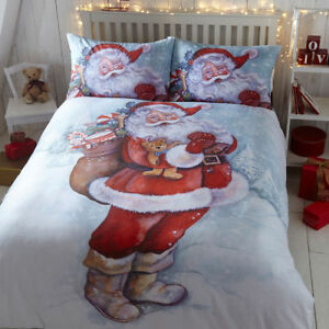 Classic-Father-Christmas-Santa-Duvet-Cover-Quilt-Cover-Set-Bedding-White-Multi