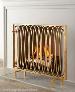 Modern Geometric Oval Loops Fireplace Fire Screen Flat Panel Antique Gold 40"