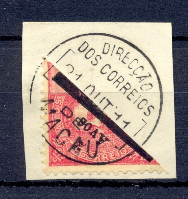 MACAU CHINA 1910 STAMP BISECTED ON PIECE   @1