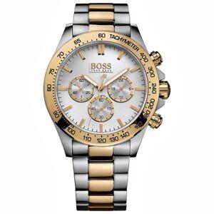 vorbestellen beste Wahl bestbewertet Details zu hugo boss hb 1512960 ikon chrono herrenuhr bi farbe gold silber  neu