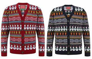 Da Uomo Novità Natale FairIsle Design Lavorato a Maglia Bottoni Cardigan ~ SMALL - 2XL