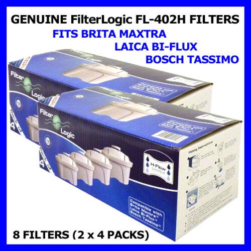 Maxtra /& Brita Packung zu 8 Filterlogic H-Flow Kartuschen Zum Anpassen