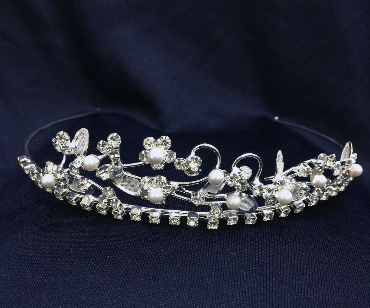 Crystal Rhinestones With Pearl /Tiara Silver Plated. 1.25