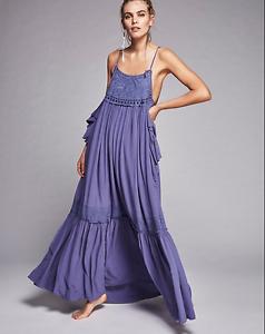 Womens Sun Bohemia Embroidery Casual Spaghetti Strap Cotton Cami Long Dress