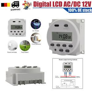 Digitale LCD Zeitschaltuhr DC//AC 12V 16A Timer Programmierbar Schalter Zeit Gut