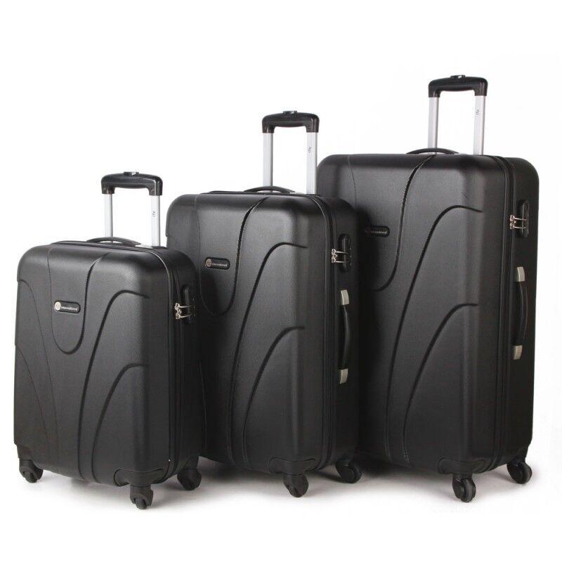 4 4 4 ruote leggero Spinner Set di 3 BAGAGLI TROLLEY VALIGIA Borsa Custodia Nero | Qualità Primacy  dd6d39