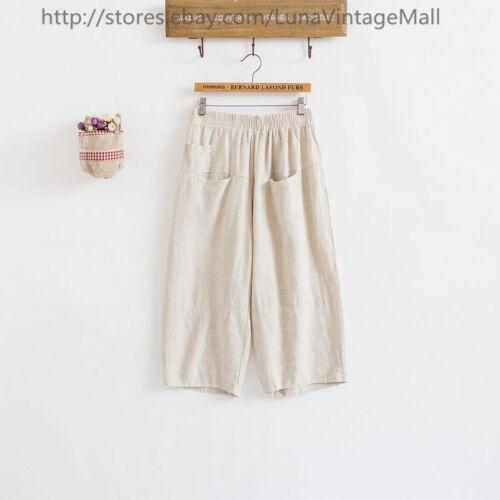 Women/'s Cotton Linen Wide Leg Pants Big Pockets Trousers Loose Slacks Breeches