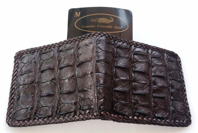Mens Unique Crocodile Alligator Bone Skin Leather Brown Color Bi-Fold Wallet