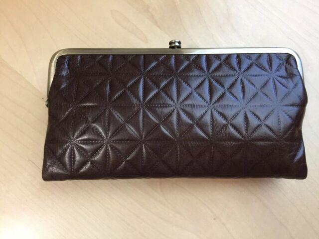 NEW HOBO INTERNATIONAL Dark Brown Quilted Leather Lauren Clutch Wallet