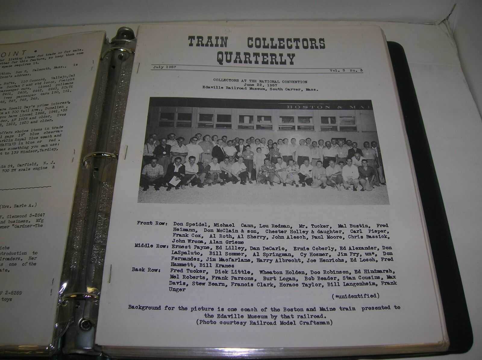 TRAIN COLLECTORS QUARTERLY NEWS LETTER JULY 1957 VOL. 3 NO. 3- MAKE OFFERS