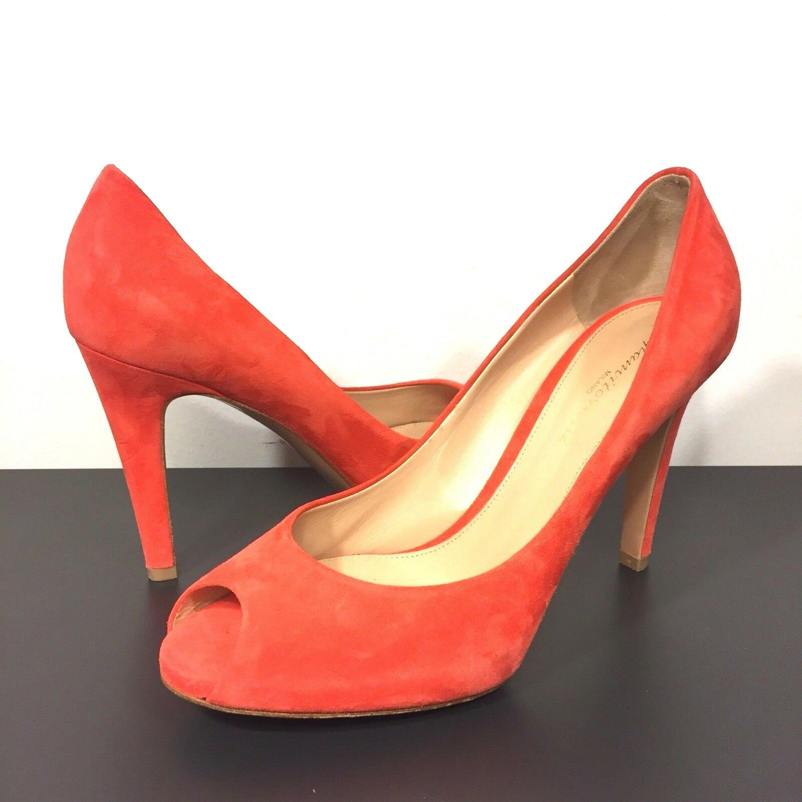 GIANVITO ROSSI Suede Leather Peep Toe Pump Heels Red orange Size 39 (MSRP  795)