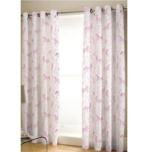 """Catherine Lansfield Woodland Friends Easy Care 66/"""" x 72/"""" Eyelet Curtains Pink"""