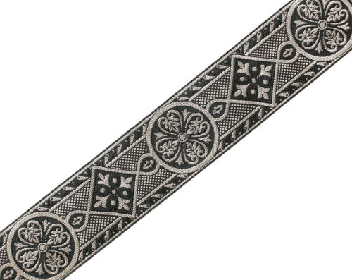 """2 3//8/"""" Wide Jacquard Trim Medieval Style Black /& Silver Vestment Sewing 3 Yards"""