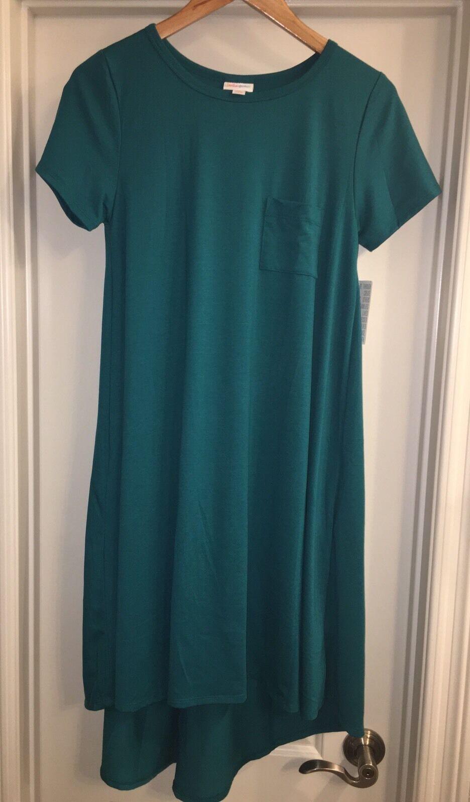 NWT LuLaRoe Carly Dress Size XS Extra Small Gorgeous Solid Teal HTF Unicorn