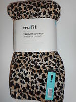Women's Tru Fit Leggings Velour Fur Lining Animal Print Various Sizes