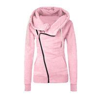 Women Hooded Hoodies Sweatshirt Casual Jumpers Tracksuit Oblique Zip Up Coat Top