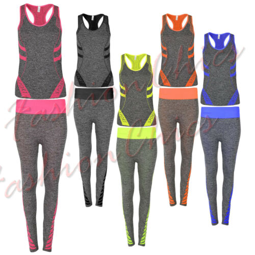 Womens Vest Stripe Fitness Sports Leggings Gym Exercise Trouser Active Wear Set