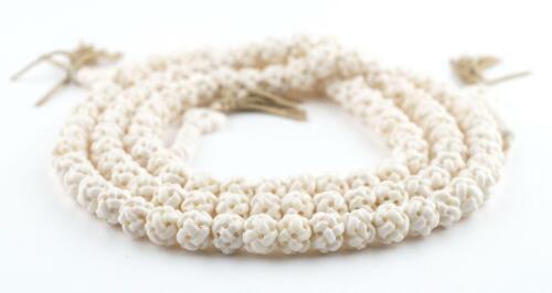White Premium Woven Carved Bone Prayer Beads 10mm Nepal Round Large Hole