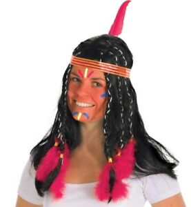 Indianerin Perücke Indianerperücke Zopf Perücke Federperücke Indianerin Perücke