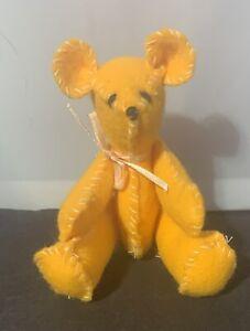 5-1-2-Yellow-Felt-Handmade-Jointed-Teddy-Bear-Doll-Companion-Toy-Unknown-Artist