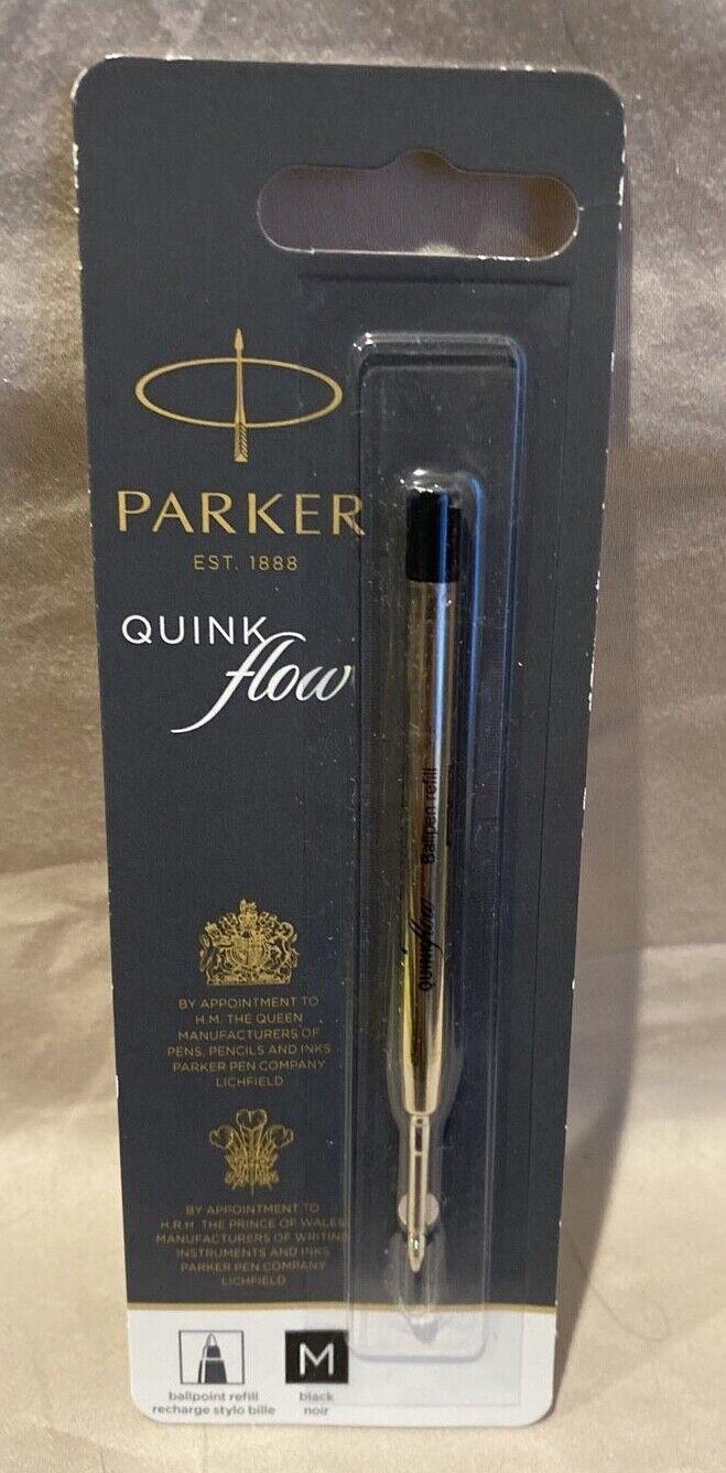 Black Pack of 3 Refill Parker QuinkFlow Ink Refill Ballpoint Pens MED Point