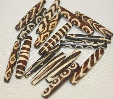 "1.5""  Batik Hand Crafted Bone Beads - 6-8 Pattterns Mix - 16 pc per Pack"