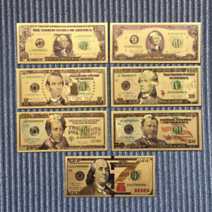7pcs-Set-Paper-Money-USA-Paper-Monry-Collection-Banknotes-Gold-Foil-Bill-Craft