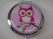 MUST-HAVE Schminkspiegel Eule Emily pink, Kosmetikspiegel, Taschenspiegel