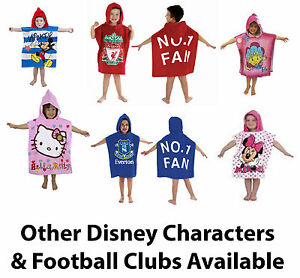 Hooded-Cotton-Poncho-Beach-Bath-Swim-Towel-Kids-Boy-Girls-Disney-Football-FC-New