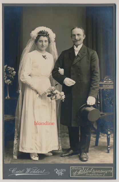 CAB: Hübsches, feines Brautpaar in Robe; Landsberg a.d. Warthe, um 1915