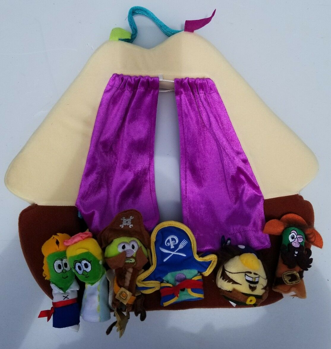 Manhattan Toy Veggie Tales 6 Finger Puppets and Plush Theater Stage VHTF Pirates