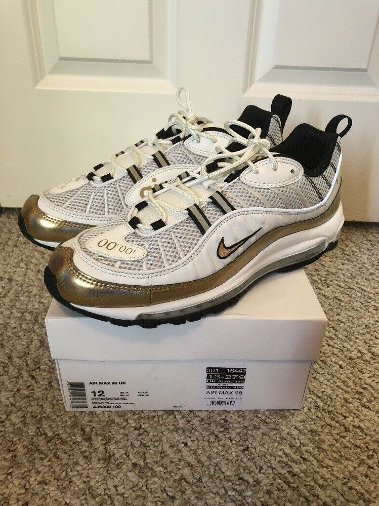 Nike Air Max 98 GMT Summit White Metallic Gold Prime Meridian Mens AJ6302-100