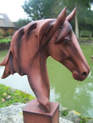 NA0649     FIGURINE  STATUETTE BUSTE TETE DE  CHEVAL STYLE  BOIS    ANIMAL 31 cm
