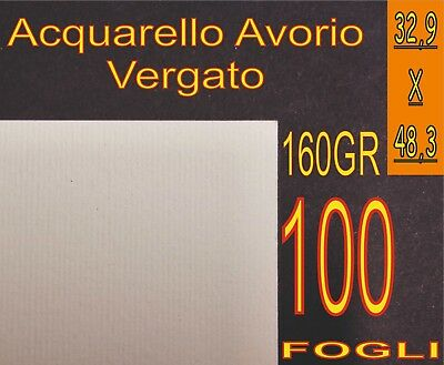 100 Fogli Carta Vergata Acquarello Crema X Stampanti Laser E Inkjet A3+ A3 Plus Attraente E Durevole