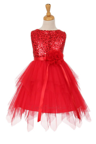 New Red Flower Girl Dress Pageant Wedding Birthday Party Christmas Fancy 6370